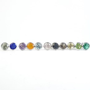 The Silver Gemstone Rubover Studs - more colours!