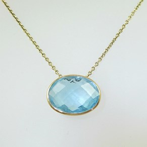 NEW! 9ct gold chain and setting with Large Real  Gemstone