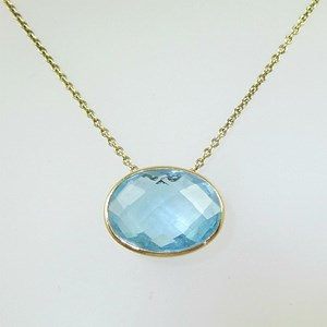 9ct gold chain and setting with Large Real  Gemstone