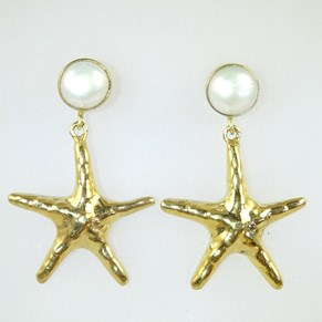 NEW - Gold Pearl and Large Starfish Earring