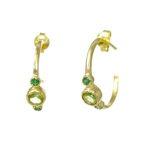 The Peridot and Green Onyx Little Hoops