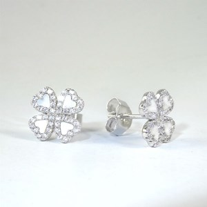 NEW!  White Mother of Pearl and 'Diamond' Clover Studs