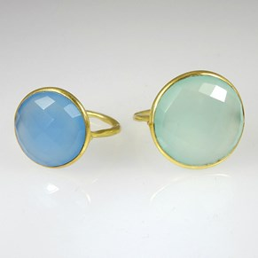 Aqua and Blue Chalcedony Rings - NEW - large sizes only!!!!!!!!!