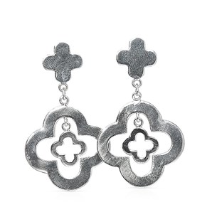 The Silver Clover Embellished Earring