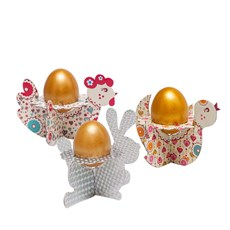 Bunny, Chicken and Rooster, Decorative Stands for Easter Eggs