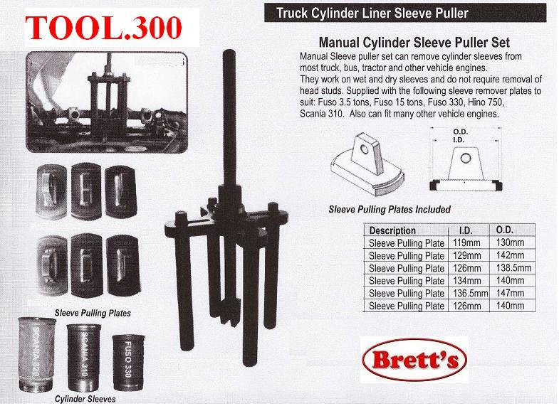 TOOL 300 Cylinder Sleeve Puller Set set can remove cylinder sleeves from  most truck bus engineS They work on wet and dry sleeves and do not require