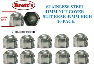 """NC41-SSA 41MM 10PACK PAK FRONT 1""""5/8 NUT COVER JAP STAINLESS STEEL 41MM SINGLE  NUT COVER CHROME CANTER MITSUBISHI ISUZU HINO NISSAN UD FUSO WHEEL NUT CAP COVER  NC41 41MM HIGH 8026SSFR 8026SS"""