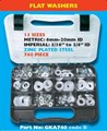 GKA740 740 PC FLAT STEEL WASHER ASSORTMENT 13 SIZES METRIC 6MM-20MM ID IMPERIAL 3/16