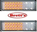 LED175AWTB2 PAIR 12V FRONT LAMP BULL BAR BLINKER PARK 1/3 WHITE 2/3 AMBER FULLY SUBMERSIBLE 175AW LED L.E.DS LED175 BULLBAR LEDS FUSO ISUZU HINO MITSUBISHI MAZDA 175AW 475AWTB2