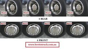 """ISRT225335TS-10 8X4 22.5'' FRONT & REAR STAINLESS STEEL WHEEL COVER SIMULATOR SET 4 X 2 SINGLE DRIVE HINO MITSUBISHI FUSO NISSAN UD ISUZU VOLVO MERCEDES BENZ SCANIA  SUITS 22.5"""" WHEELS   ISRT225  ISRT225335"""