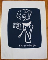 Guide Dogs WA HangDog Art Limited Edition Cotton Tea Towel White/Navy Blue