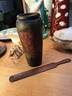 Antique Vintage Australian Pine Pokerwork Decorated Vase & Letter Opener Grapes