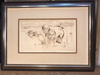 "Australian Artist WR Lyons ""The Boss Cocky From Clermont"" 19/25 Framed Etching"