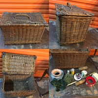 Early Vintage Large Fishing Creel Basket Tackle & Reels Home or Shop Display