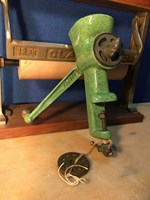 Large Vintage English 1930's Harper Enamelled Meat Grinder Timber Handle