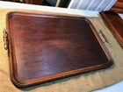 Large Antique Early Victorian English Oak & Brass Serving Butler's Tray