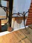 Antique Pair of Horse Drawn Carriage Sulky Cast Iron Steps Rustic Garden Display
