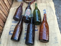 Collection of 6 Early Vintage Australian Long Neck Beer Bottles Bar Display