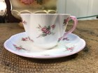 Beautiful Quality Vintage English Shelley Dainty Bridal Rose Tea Cup Duo