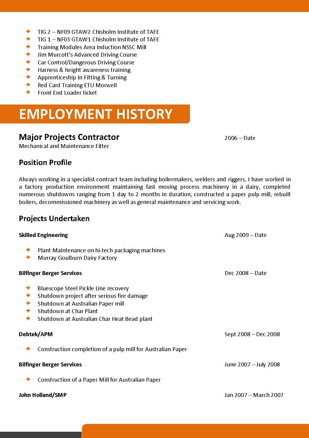 Mechanical And Maintenance Fitter Resume Template