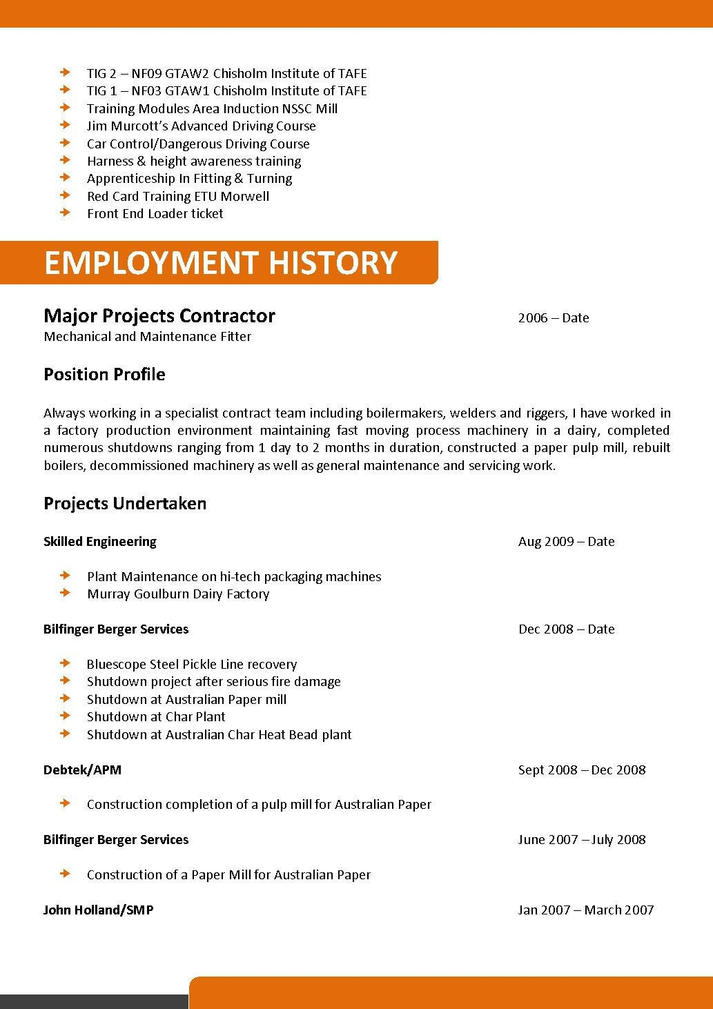 mechanical and maintenance fitter design resume design mechanical and