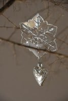 Cut Glass snowflake and silver heart ornament