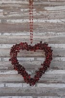 Heart with Red Glass Pearls