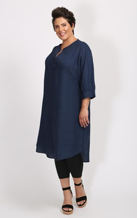 SALE - Mae and Pearl - french navy mandarin dress