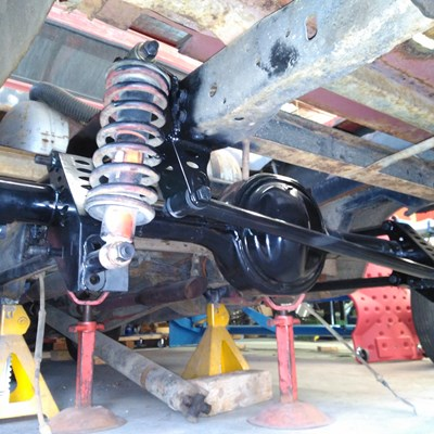 F100 rear 4 link, pan hard bar and coil overs with notched chassis