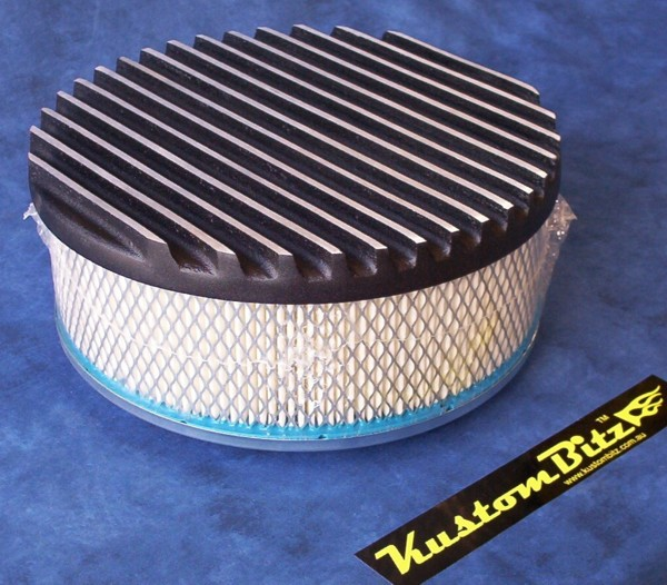 Air Cleaner 9 Inch Flat Top Finned BLACK With 3 Inch