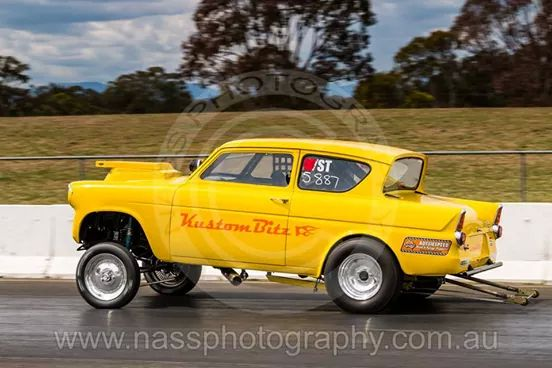 Anglia 105e gasser drag car - first outing