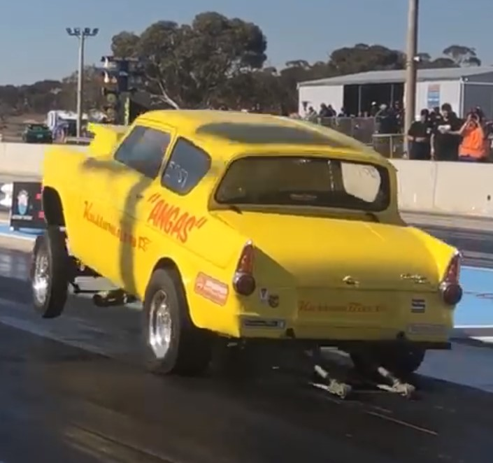 Our first wheels up Launch in Vintage Gas drag racing