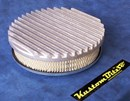 Air Cleaner 9 inch Flat Top Finned RAW [Shot Blasted] with 2 inch element - 80mm diameter neck suit Holden Gemini