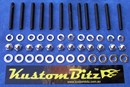 Holden V8 Bolt Kit - Valve Cover Standard & 12mm Spacer Polished Stainless Dome Nuts [KustomBitz]