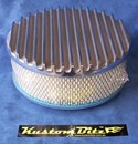 Air Cleaner 9 inch Flat Top Finned POLISHED with 3 inch element - Stromberg single barrel diameter 2' 5/16' inch neck
