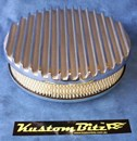 Air Cleaner 9 inch Flat Top Finned POLISHED with 2 inch element - Stromberg two barrel diameter 2' 5/8' inch neck