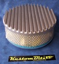 Air Cleaner 9 inch Flat Top Finned RAW [Shot Blasted] with 3 inch element - Holley diameter 5' 1/8' inch neck