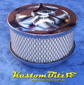 Chrome Air Cleaner 6 inch with 3 inch filter - Holley 4 barrel diameter 5' 1/8' inch neck