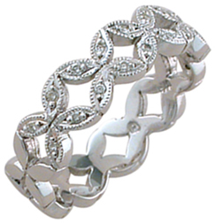"""ID329 Forever - 5.3m wide,This exquisite and unusual ring is called """"forever"""" and is new to our range. Pictured in white gold, It has diamonds half way"""