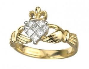 Claddagah Diamond Ring,Beautiful Diamon Claddagh 14 Ct Yellow Gold Ring ,Made in Dublin ,Alo available in 18 ct gold