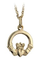 Gold Claddagh Pendant ,S8410 - Medium 12mm wide x 17mm high S8027 - Large 15mm wide x 20mm high S8292 - XLarge 21mm wide x 29mm high
