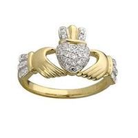 Claddagh Diamond Ring ,with Diamond sholders and Crown [0.25]