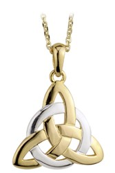 S44061  - Trinity Pendant This charming two tone pendant is 14ct yellow and white gold and made in Ireland.,