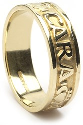 "ID211 Anam Cara - Mens,This ring says ""My soul mate"" in gaelic, as well as incorporating the Claddagh symbol. 10ct Yellow gold."