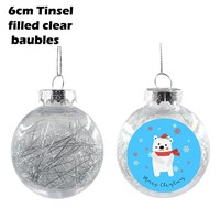 6cm Tinsel Filled Silver Christmas Bauble