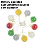 LED Christmas light up chain 6cm Baubles
