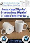 Sublimation Mugs 48 per carton in White Gift Boxes NO Styrofoam