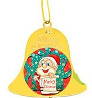 Gold Double Sided Christmas Bell with metal inserts