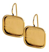 Earring Large Square Antique Gold - Pair