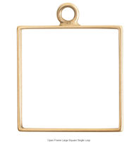 Open Frame Large Square Single Loop Antique Gold Packet of 3